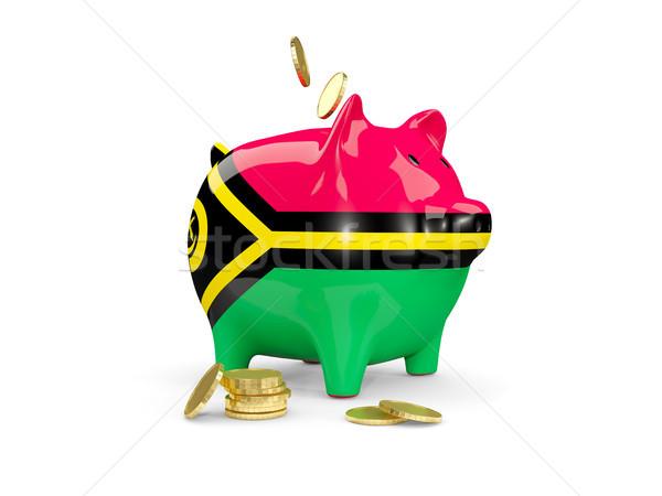 Gordura piggy bank Vanuatu dinheiro isolado branco Foto stock © MikhailMishchenko
