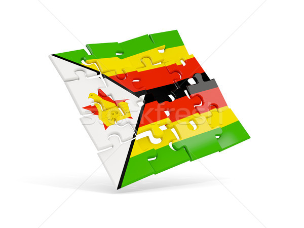 Puzzle flag of zimbabwe isolated on white Stock photo © MikhailMishchenko
