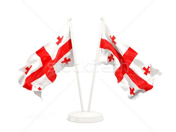 Iki bayraklar Georgia yalıtılmış beyaz Stok fotoğraf © MikhailMishchenko