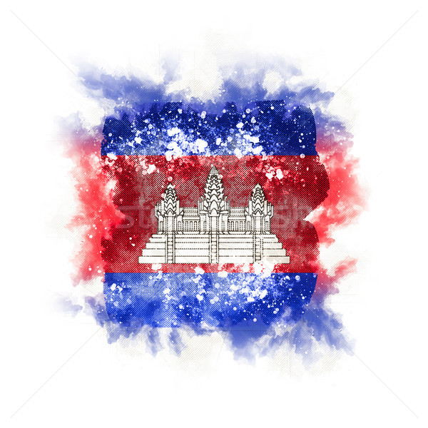 Square grunge flag of cambodia Stock photo © MikhailMishchenko