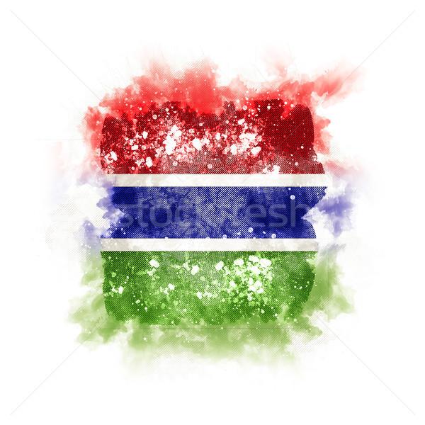 Placu grunge banderą Gambia 3d ilustracji retro Zdjęcia stock © MikhailMishchenko