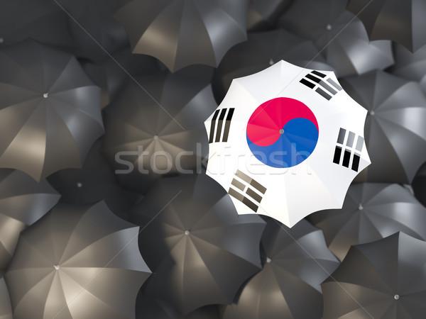 Umbrella with flag of south korea Stock photo © MikhailMishchenko