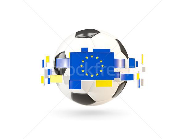 Soccer ball with line of flags. Flag of european union Stock photo © MikhailMishchenko