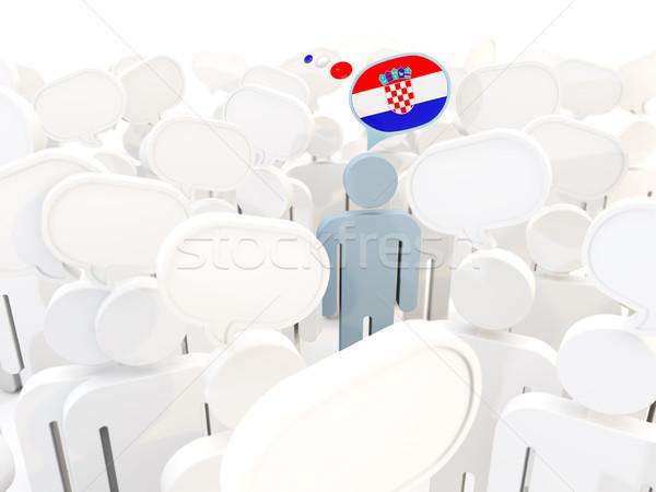Uomo bandiera Croazia folla illustrazione 3d segno Foto d'archivio © MikhailMishchenko