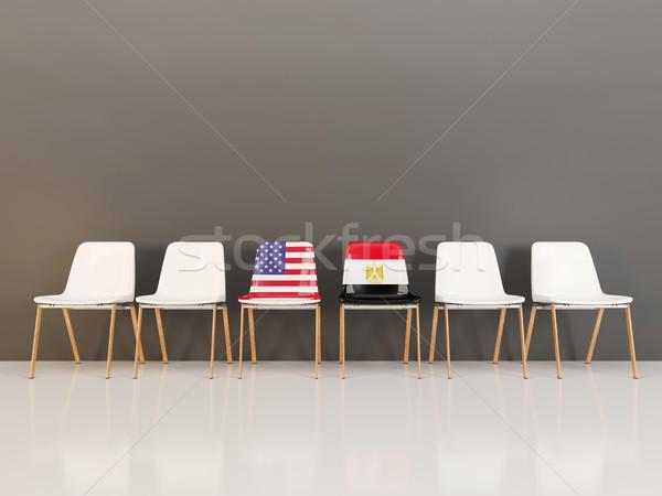 Székek zászló USA Egyiptom csetepaté 3d illusztráció Stock fotó © MikhailMishchenko