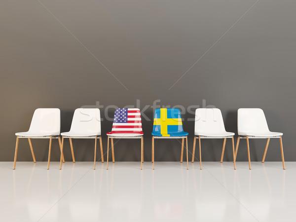 Székek zászló USA Svédország csetepaté 3d illusztráció Stock fotó © MikhailMishchenko