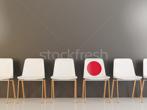 Photo stock: Président · pavillon · Japon · rangée · blanche · chaises