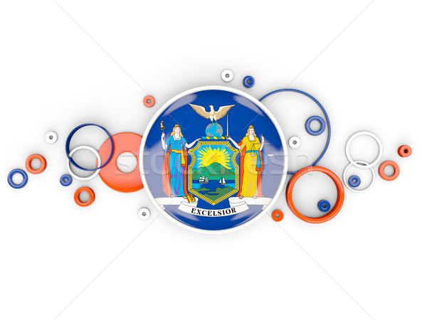 Round flag of new york with circles pattern. United states local Stock photo © MikhailMishchenko