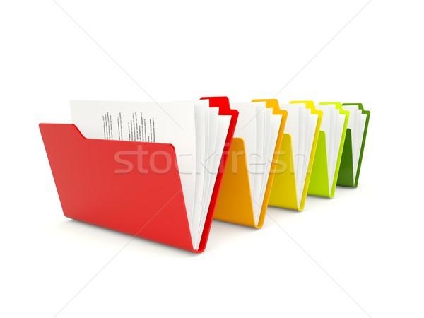 Renkli klasörler yalıtılmış beyaz Internet veri Stok fotoğraf © MikhailMishchenko