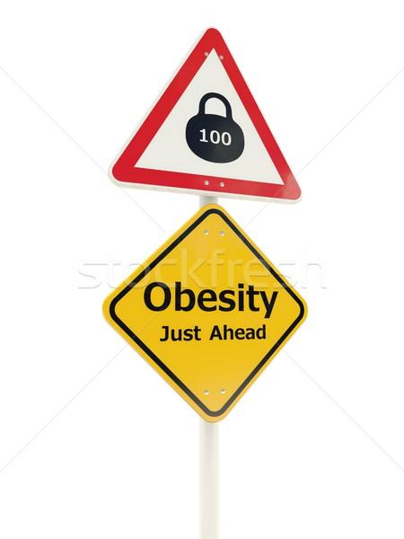 Obesity Just Ahead road sign Stock photo © MikhailMishchenko