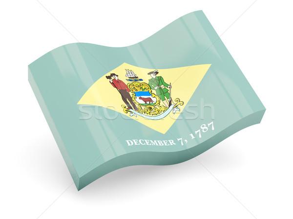 Ondulado ícone Delaware bandeira Foto stock © MikhailMishchenko