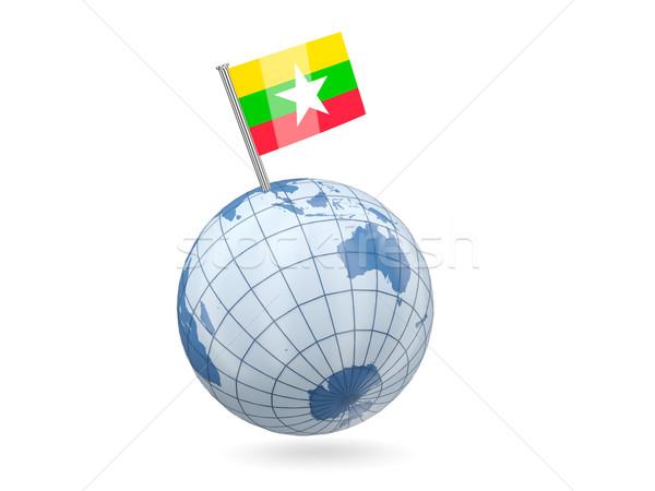 Földgömb zászló Myanmar kék izolált fehér Stock fotó © MikhailMishchenko