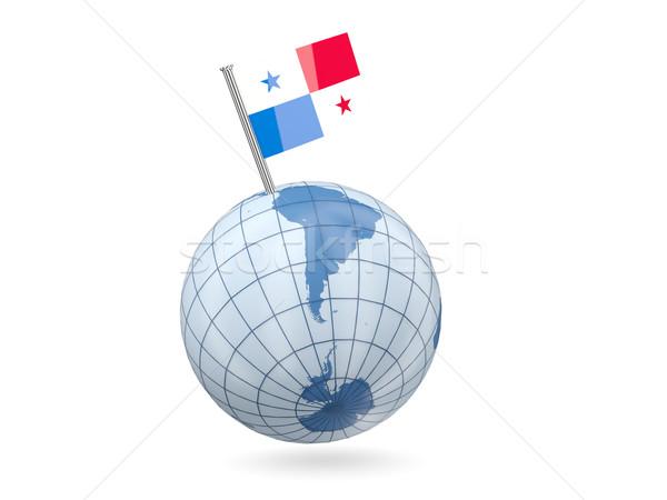 Földgömb zászló Panama kék izolált fehér Stock fotó © MikhailMishchenko