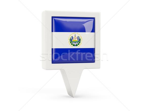 Praça bandeira ícone El Salvador isolado branco Foto stock © MikhailMishchenko