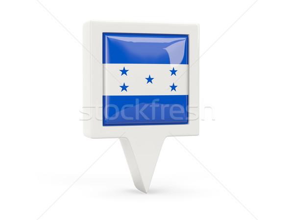 Praça bandeira ícone Honduras isolado branco Foto stock © MikhailMishchenko