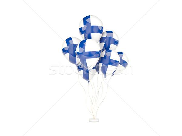 Voador balões bandeira Finlândia isolado branco Foto stock © MikhailMishchenko