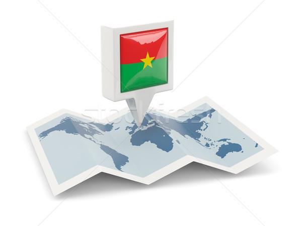 Square pin with flag of burkina faso on the map Stock photo © MikhailMishchenko