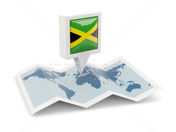 Cuadrados pin bandera Jamaica mapa viaje Foto stock © MikhailMishchenko