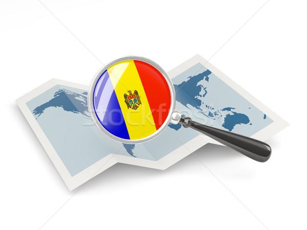 拡大された フラグ モルドバ 地図 白 ストックフォト © MikhailMishchenko