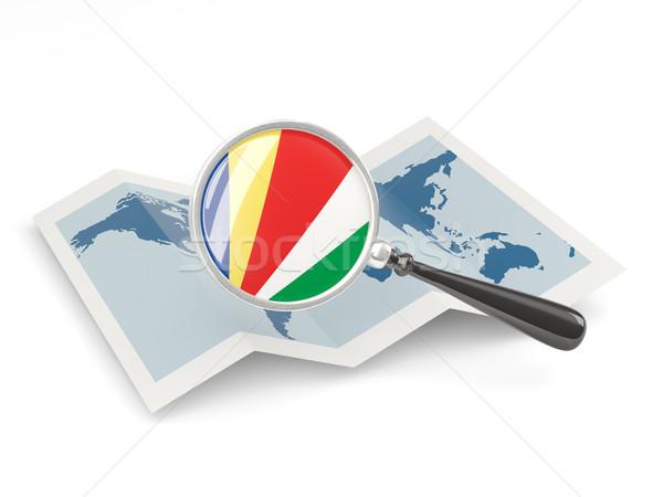 Nagyított zászló Seychelle-szigetek térkép izolált fehér Stock fotó © MikhailMishchenko
