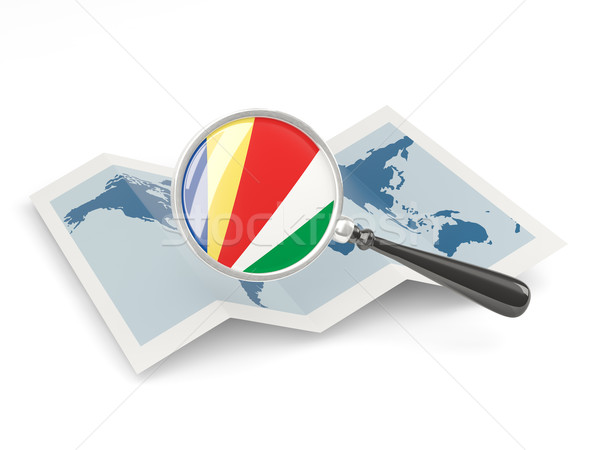 флаг Сейшельские острова карта белый Сток-фото © MikhailMishchenko