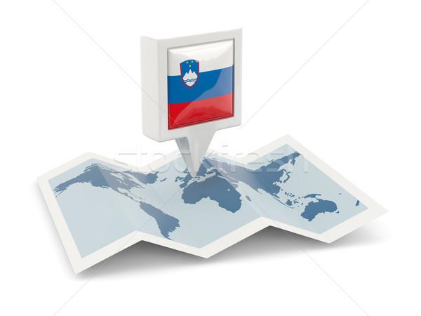 Piazza pin bandiera Slovenia mappa viaggio Foto d'archivio © MikhailMishchenko