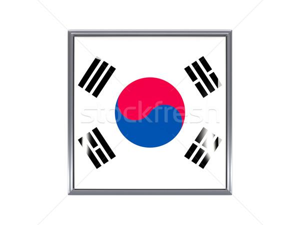 Square icon with flag of south korea Stock photo © MikhailMishchenko