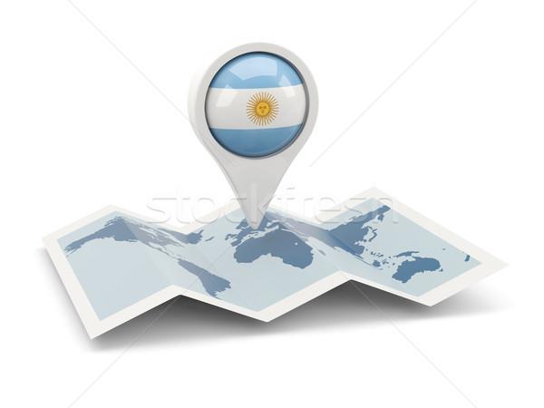 Broches pavillon Argentine carte Voyage blanche Photo stock © MikhailMishchenko