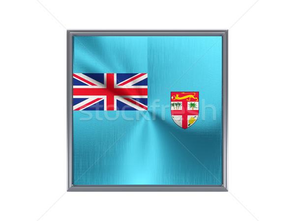 Vierkante metaal knop vlag Fiji geïsoleerd Stockfoto © MikhailMishchenko