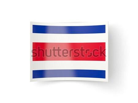 Tér címke zászló Costa Rica izolált fehér Stock fotó © MikhailMishchenko