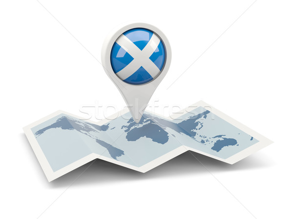Pin banderą Szkocji Pokaż podróży biały Zdjęcia stock © MikhailMishchenko