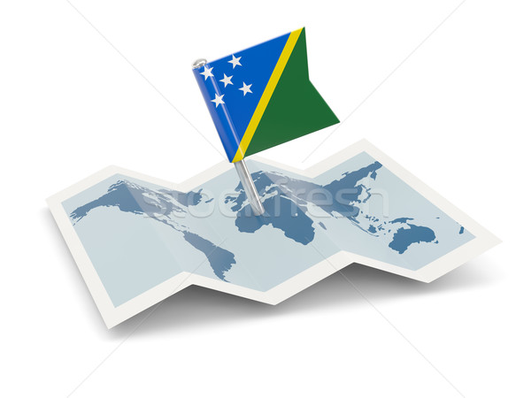 Map with flag of solomon islands Stock photo © MikhailMishchenko
