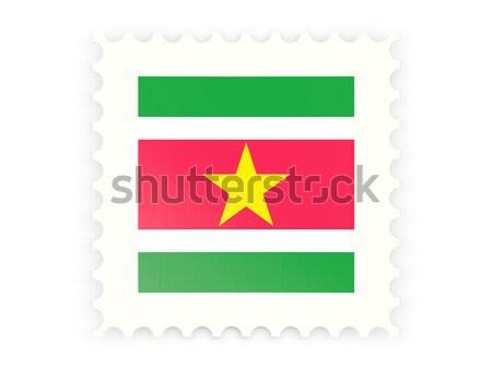 квадратный наклейку флаг Суринам изолированный белый Сток-фото © MikhailMishchenko