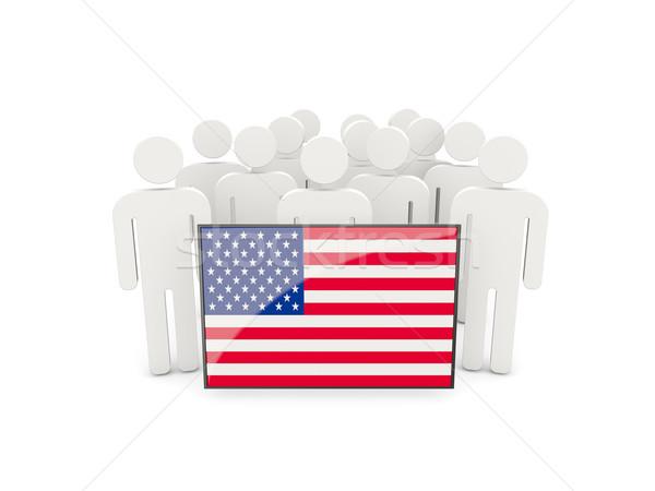 Insanlar bayrak Amerika Birleşik Devletleri Amerika yalıtılmış beyaz Stok fotoğraf © MikhailMishchenko