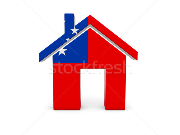 Casa bandeira Samoa isolado branco pesquisar Foto stock © MikhailMishchenko