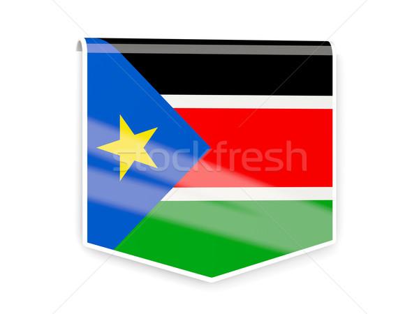 Zászló címke dél Szudán izolált fehér Stock fotó © MikhailMishchenko