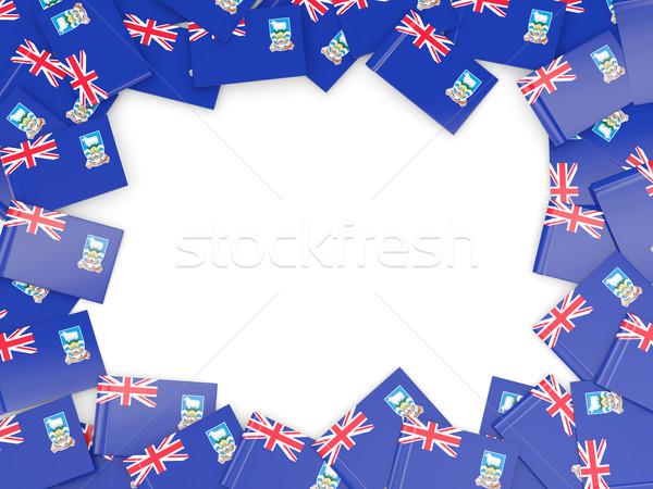 Keret zászló Falkland-szigetek izolált fehér Stock fotó © MikhailMishchenko
