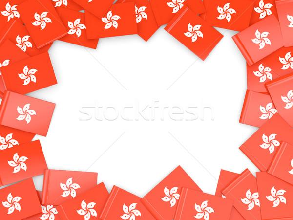Frame vlag Hong Kong geïsoleerd witte Stockfoto © MikhailMishchenko