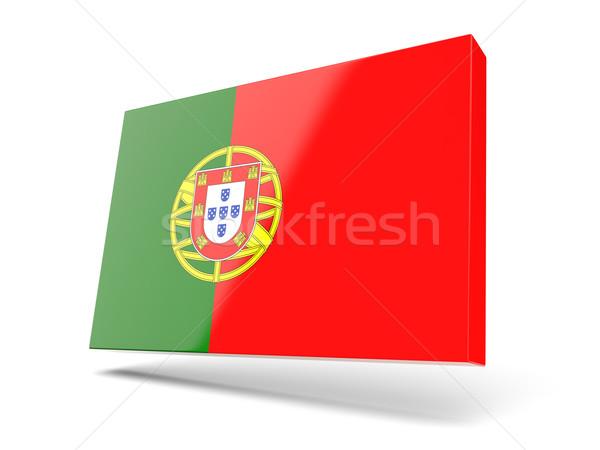Vierkante icon vlag Portugal geïsoleerd witte Stockfoto © MikhailMishchenko