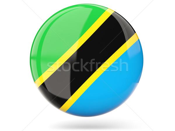 Ikon zászló Tanzánia fényes felirat fehér Stock fotó © MikhailMishchenko