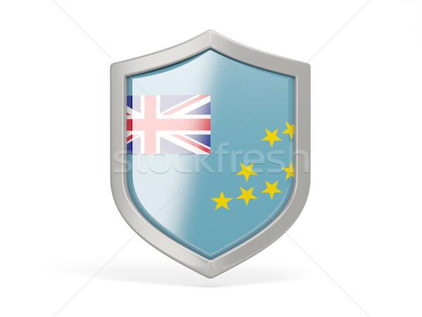 Escudo ícone bandeira Tuvalu isolado branco Foto stock © MikhailMishchenko