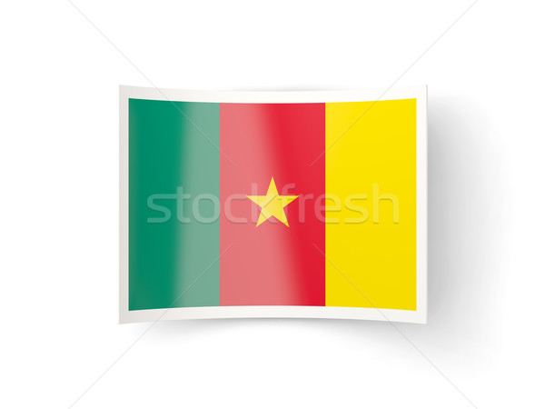 ícone bandeira Camarões isolado branco país Foto stock © MikhailMishchenko