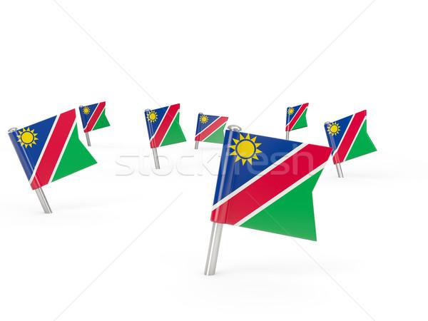 Kare bayrak Namibya yalıtılmış beyaz ülke Stok fotoğraf © MikhailMishchenko