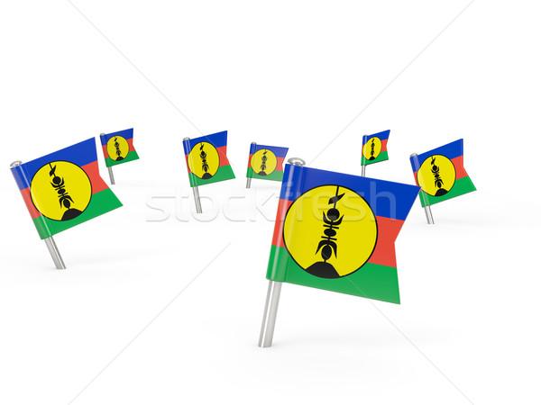 Square pins with flag of new caledonia Stock photo © MikhailMishchenko