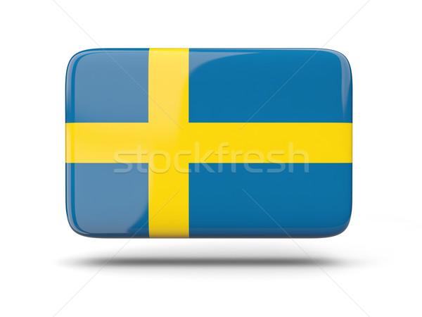 Vierkante icon vlag Zweden schaduw teken Stockfoto © MikhailMishchenko