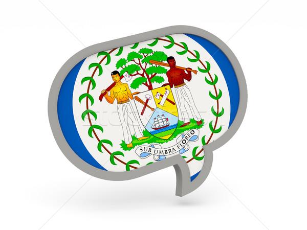 Foto stock: Chat · icono · bandera · Belice · aislado · blanco
