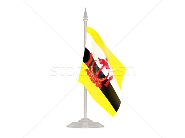 Banderą Brunei maszt 3d odizolowany biały Zdjęcia stock © MikhailMishchenko