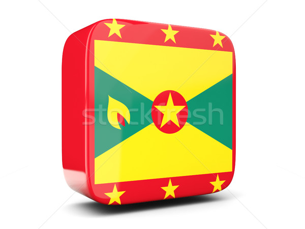 Vierkante icon vlag Grenada 3d illustration geïsoleerd Stockfoto © MikhailMishchenko