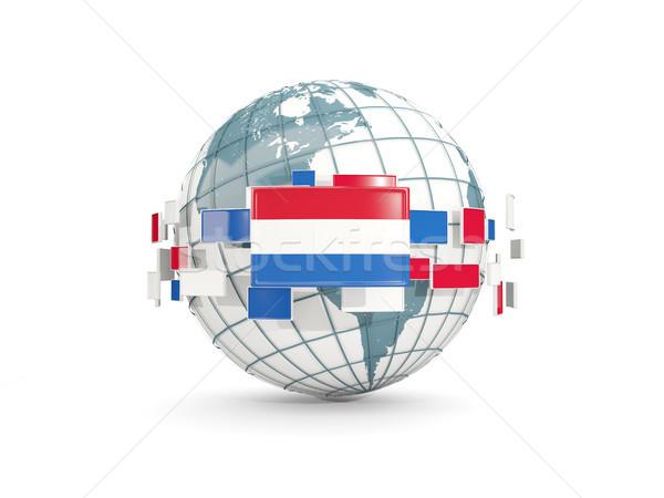 Globe with flag of netherlands isolated on white Stock photo © MikhailMishchenko