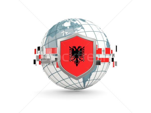 Globe and shield with flag of albania isolated on white Stock photo © MikhailMishchenko